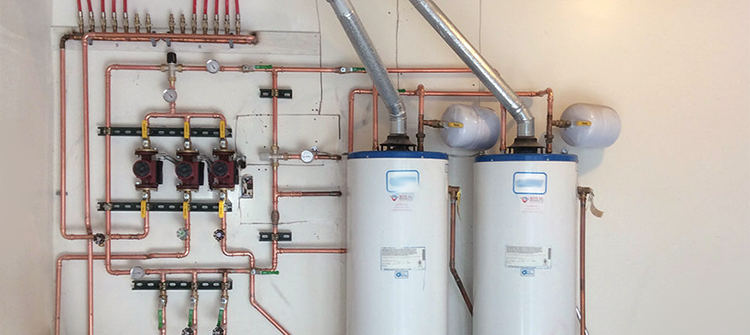 Image of residential water heater installation