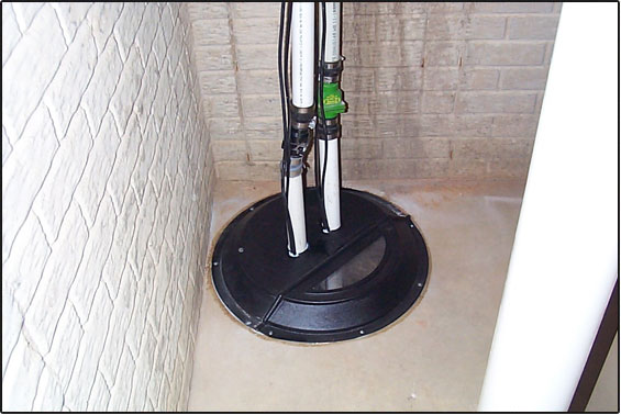 Image of a sump pump installation