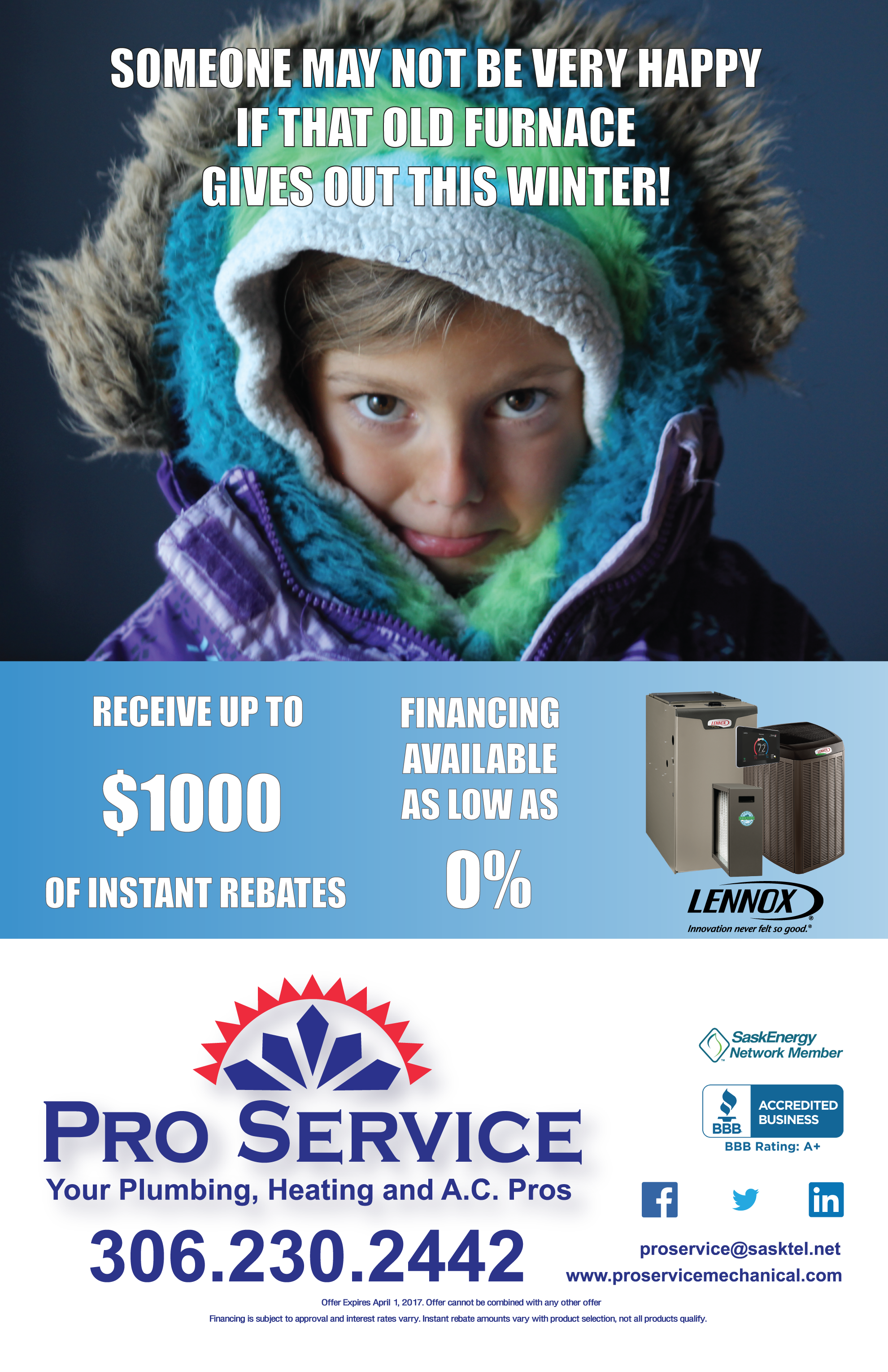 Image of flyer for furnace installation rebate offer by Pro Service