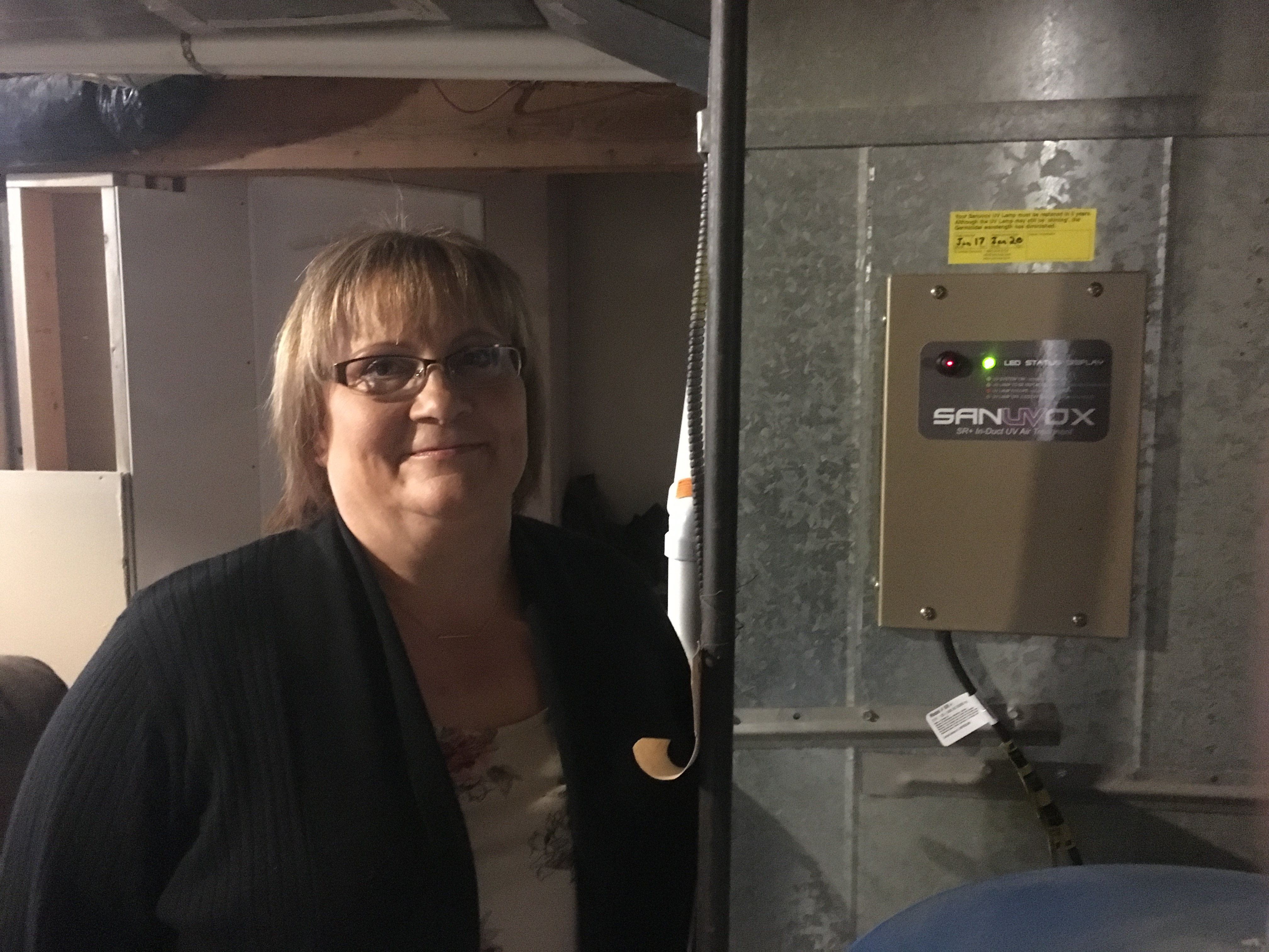 Image of customer with new Sanuvox UV Air Treatment system installed
