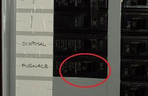 Image of a furnace breaker in the home electrical panel