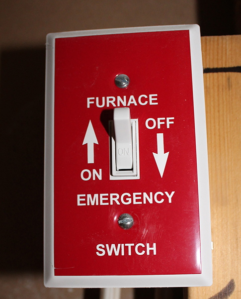 Image of furnace electrical shut off switch for emergencies and repair purposes