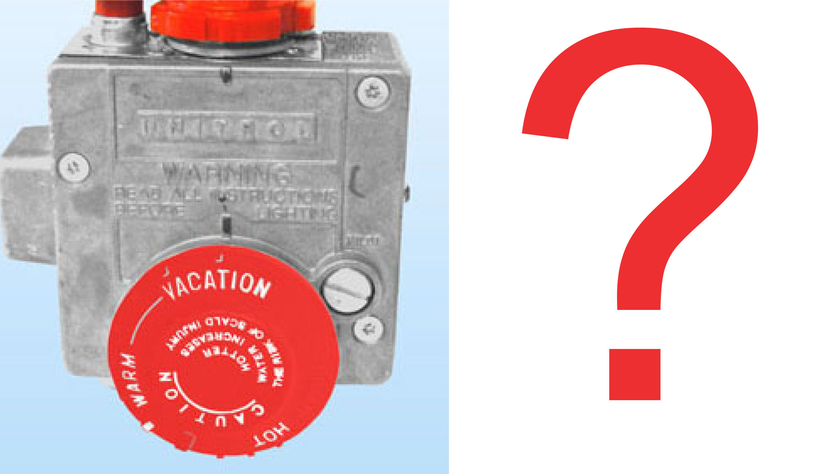 Image of water heater gas valve and question mark