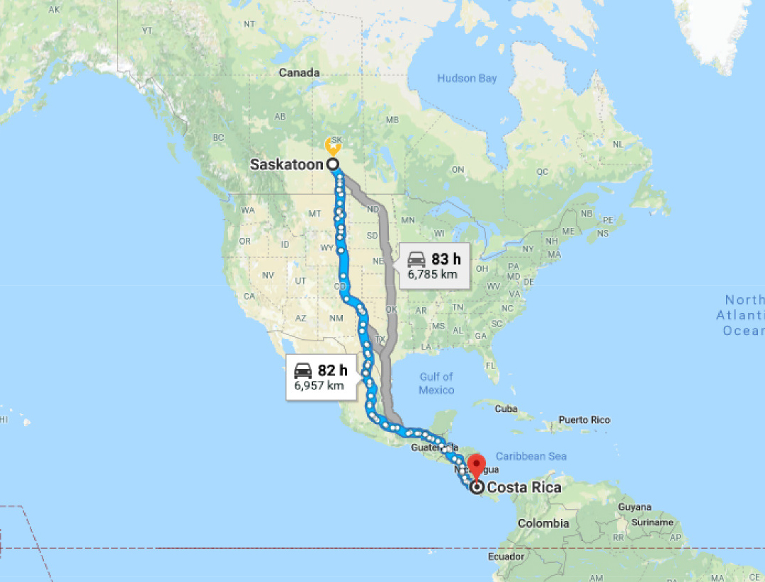 distance from Saskatoon to Costa Rica