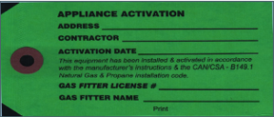 Image of a Gas Permit application certificate