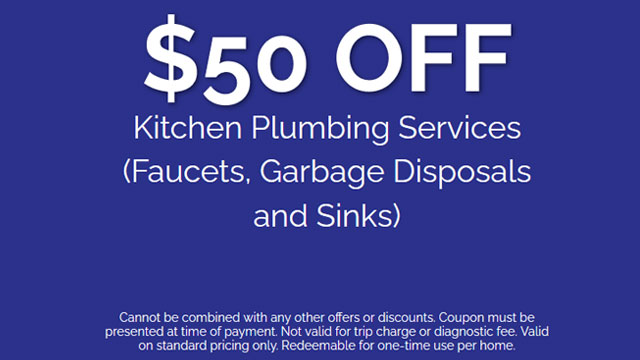 Discount on Kitchen Plumbing Services (Faucets, Garbage Disposals and Sinks)