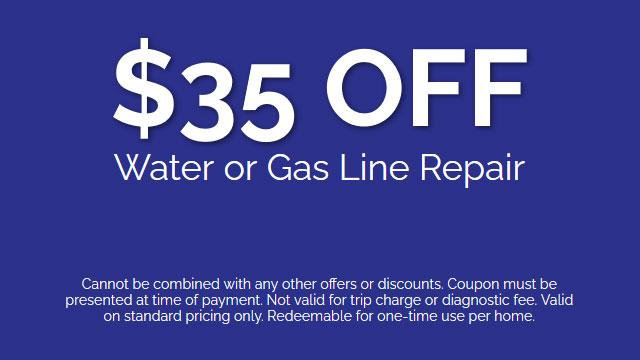 Discount on Water or Gas Line Repair