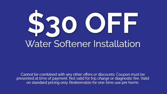 Discount on Water Softener Installation